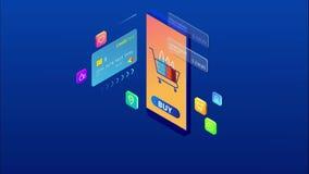 Achats et paiement en ligne isométrique, vente, consommationisme, et magasin en ligne Vente et commerce ?lectronique mobiles Inte illustration de vecteur