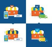 Achats et procédé d'application en ligne, la livraison des marchandises, magasin, achats Photos stock