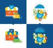 Achats et procédé d'application, la livraison, protection de l'investissement des dépôts Image libre de droits
