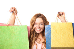 Achats heureux de jeune femme photographie stock libre de droits