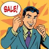 Achats masculins de magasin discount de ventes de vente d'homme d'affaires Images libres de droits