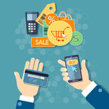 Achats mobiles d'achats de concept en ligne de commerce électronique Image libre de droits
