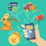 Achats mobiles de achat d'Internet de concept de commerce électronique Images libres de droits