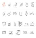 Achats modernes, ensemble d'icône de vente Images libres de droits
