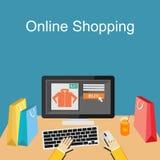 Achats ou illustration en ligne de commerce électronique Concept plat d'illustration de conception Images stock