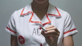 ACHE, female doctor writing on transparent screen stock video footage