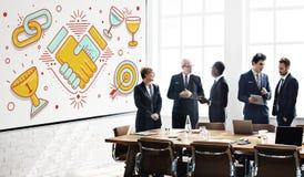 Acheivement Success Teamwork Partnership Concept. Business People Discuss Achievement Success Teamwork Partnership Stock Image