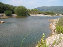 Achelous river in Acarnania and Aetolia Greece. Europe Royalty Free Stock Photos