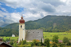 Achenkirch, idyllic austrian health resort. Picturesque chapel of achenkirch, idyllic austrian landscape stock photo
