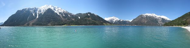 Achensee del lago panorama fotografía de archivo libre de regalías