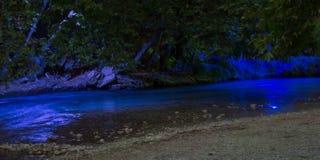 Acheror river in the night. Epirus greece blue water Stock Image