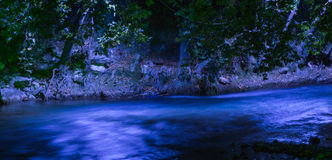 Acheror river in the night. Epirus greece blue water Stock Photos