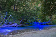 Acheror river in the night. Epirus greece green water Royalty Free Stock Photography