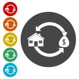 Achetant et vendant des icônes de maisons réglées illustration libre de droits