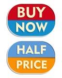Acheter maintenant et demi prix, deux labels elliptiques Photo libre de droits