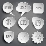 Acheter maintenant, vendu, -10%, globe et rangée vers le bas, livre, globe et rangée Photos stock