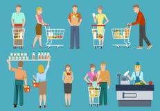 Acheteurs dans l'ensemble de supermarché illustration de vecteur