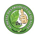 Achetez des produits de qualite, bio - los franceses sellan Imagen de archivo libre de regalías