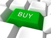Achetez le bouton vert de clavier Image stock