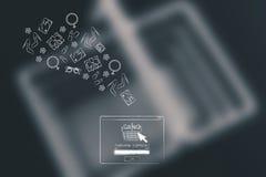 Achetez le message automatique complet avec des articles volant hors de lui images stock
