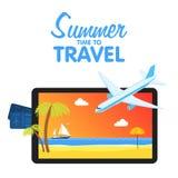 Achetez les billets d'avion Voyageant sur l'avion, prévoyant des vacances d'été, objets de tourisme et de voyage et bagage de pas illustration libre de droits