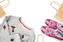 Achetez les femmes à la mode des espadrilles et des pulls molletonnés du ` s Photos stock