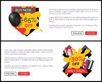 Achetez maintenant l'affiche de vente de magasin de magasin de remise de 65 pour cent illustration de vecteur