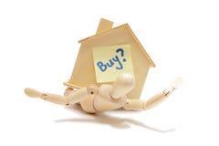 Achetez une maison avec le fond blanc Images libres de droits