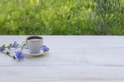 Achicoria de la bebida en una taza blanca y flores azules de la achicoria de la planta en un fondo de madera blanco imagen de archivo libre de regalías