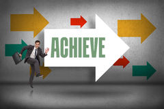 Achieve against arrows pointing Stock Photos