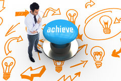 Achieve against blue push button Royalty Free Stock Photos