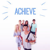 Achieve against smiling students Stock Photo