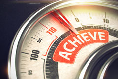 Achieve - Caption on Conceptual Gauge with Red Needle. 3D. Achieve - Red Label on the Conceptual Compass with Needle. Business Mode Concept. Metallic Gauge with Stock Photo