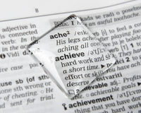 Achieve. Dictionary definition of word achieve Royalty Free Stock Photos