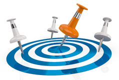 Achieve a goal. One target with several pins, only one on the center (3d render Stock Photography