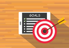 Achieve goal by checklist. Tab pad vector flat Royalty Free Stock Photos