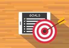 Achieve goal by checklist. Tab pad vector flat vector illustration