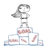 Achieve the goal, vector illustration. Visual ideas of achievements of the goal Stock Photo