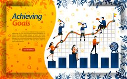 Achieve goals in business. people try to achieve goals in the sales chart, concept vector ilustration. can use for landing page, t. Emplate, ui, web, mobile app vector illustration