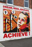 Achieve Mural in Belfast Northern Ireland. A mural on the Newtownards Road Belfast encouraging youth to dream of a new Belfast rather that the Belfast which has Stock Images
