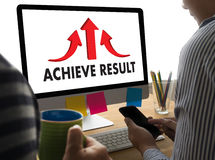 ACHIEVE RESULT compass , businessman Results and Expectations , Stock Photo