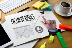 ACHIEVE RESULT , Results compass , businessman ACHIEVE RESULT ,. Results and Expectations , Get Results , arrows in business diagram  ACHIEVE RESULT Stock Photo