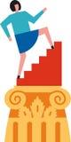 Achieve success. Woman climbs stairs at the top of a pillar Stock Photos