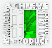 Achieve Word Door Accomplish Goals Successful Mission. A door surrounded by words illustrating success such as Achieve, accomplish, produce, resolve, attain vector illustration