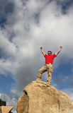 Achievement. At the top of the summit Stock Images