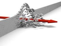Achievement. Red arrow breaking through brick wall, concept of success, breakthrough, achievement Stock Photography