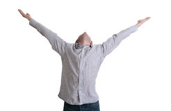 Achievement. Happy man with raising hands Royalty Free Stock Photography