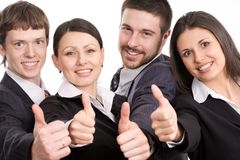 Achievement. Four happy modern business people Royalty Free Stock Photography