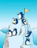 Achievement. Penguins climbing on top of a mountain Royalty Free Illustration