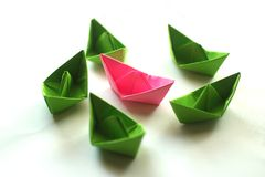 Calorful origami paper boats. stock photo